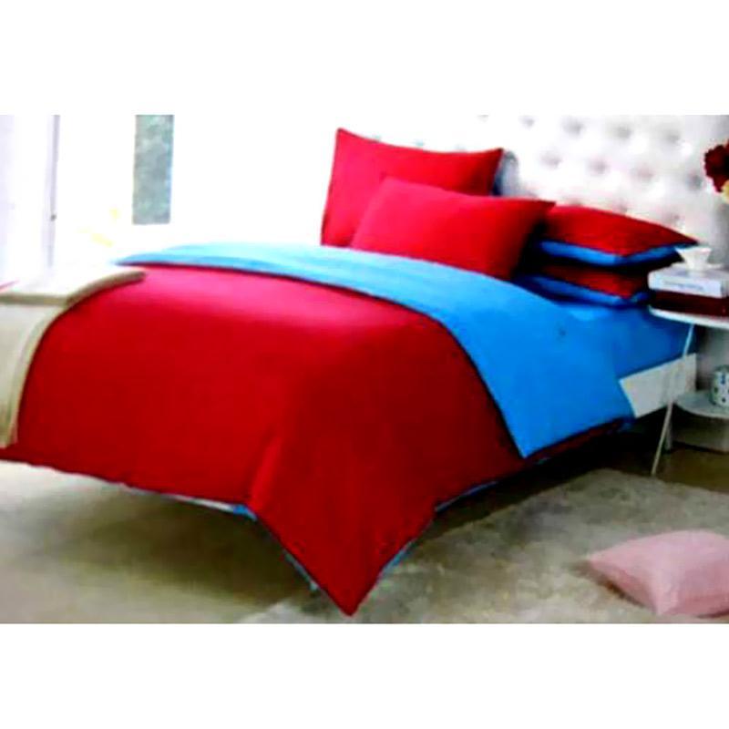 Ellenov Set Sprei dan Bedcover - Biru Merah