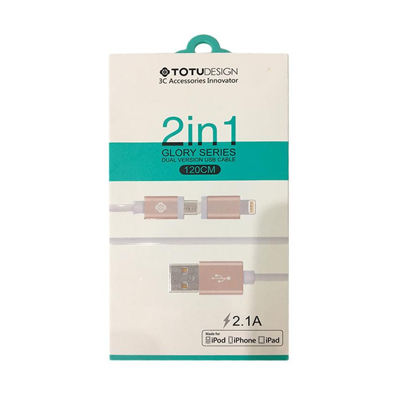 Totu Design 2 in 1 Data Cable - Rose Gold