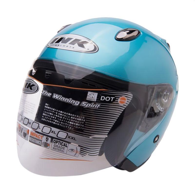 harga INK Centro Jet Solid Helm Half Face - Ice Blue Blibli.com