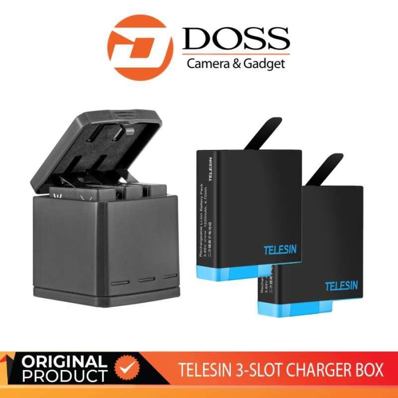 DOSS TELESIN 3 SLOT CHARGER BOX AND 3PCS BATTERY KIT SET FOR GOPRO HERO 9