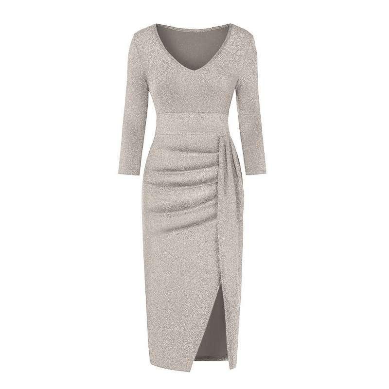 Fashion Deal Women Fashion V Neck High Slit Dress Long Sleeve Party Dresses Terbaru Juli 2021 Harga Murah Kualitas Terjamin Blibli