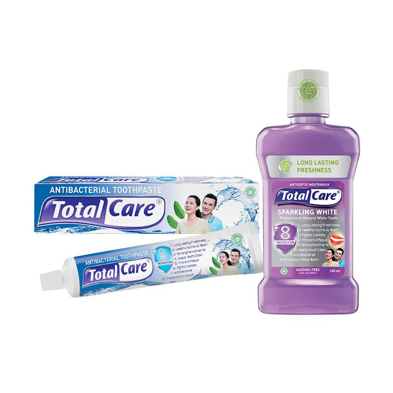 Total Care Paket Tooth Paste and Mouthwash Sparkling White