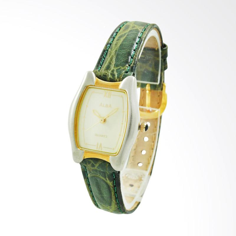 ALBA Jam Tangan Wanita - Green Silver Gold - Leather Strap - ATCX24