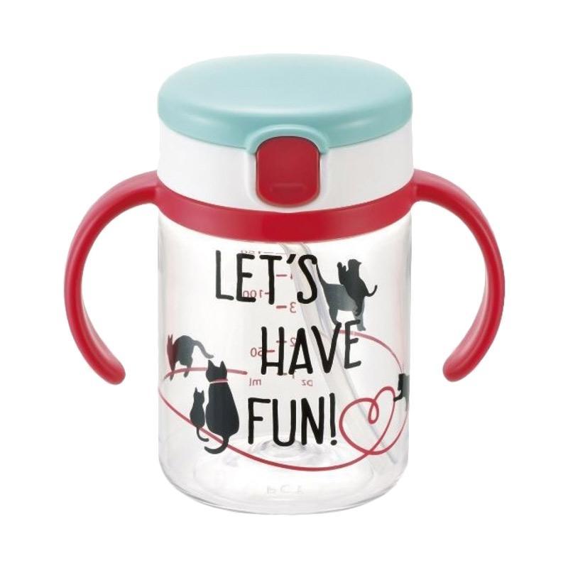 Richell Cat Clear Straw Bottle Mug [200 mL]