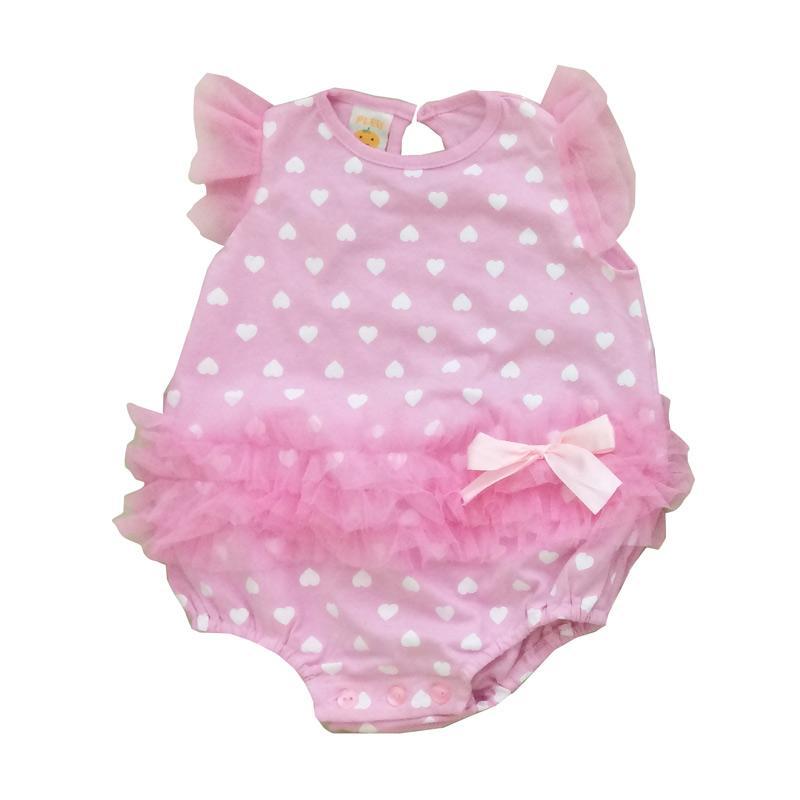 Pleu K-Tile Print Hati Jumpsuit Bayi - Pink