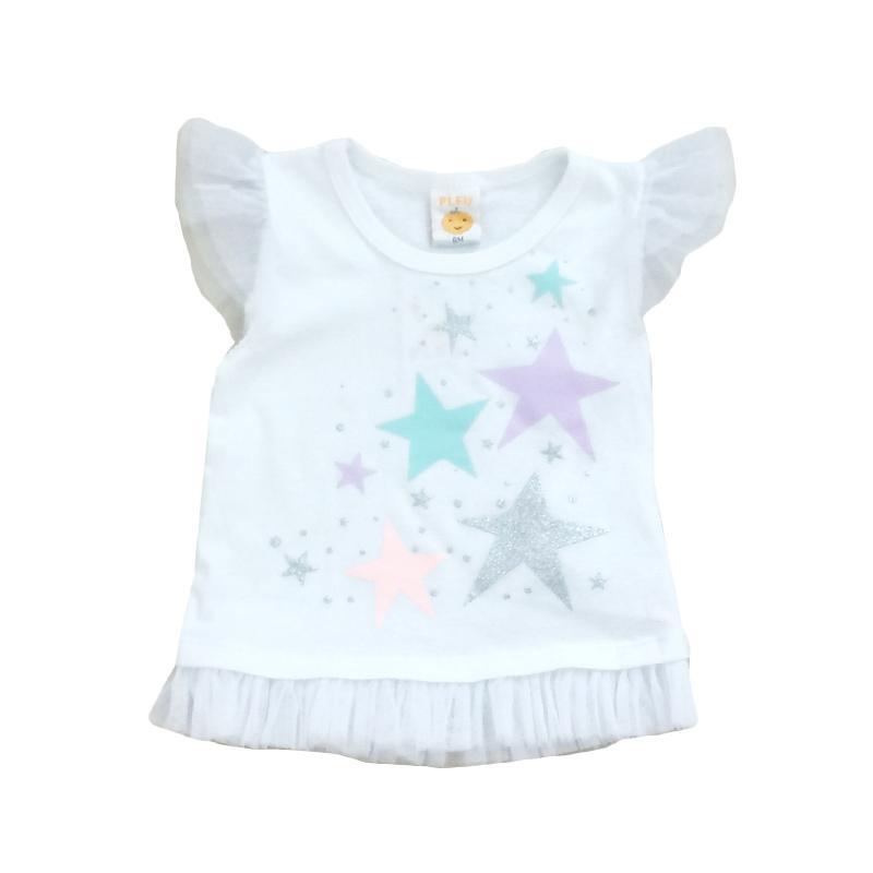 Pleu Blus Bintang T-Shirt Atasan Anak Perempuan - Putih