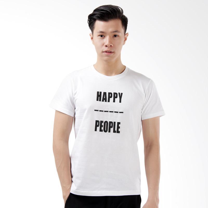 Word.O Happy People Lengan Pendek T-Shirt Pria - Putih