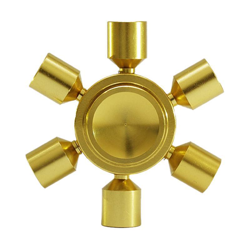 Premium Fidget Spinner Metal Brass A7 Hexagon 2 6 Sisi Fidget Spinner - Gold