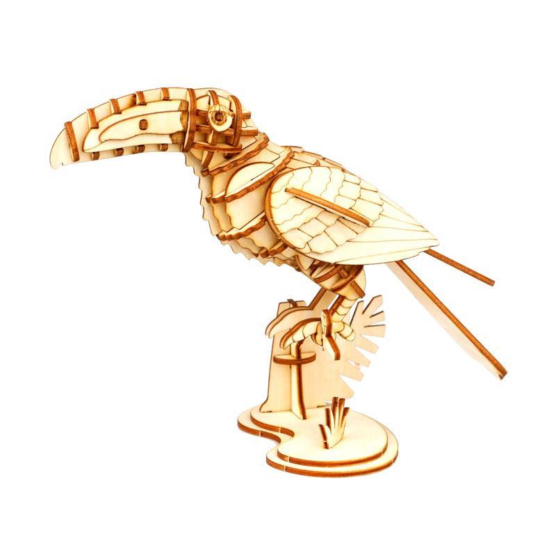 Robotime DIY Hornbill TG251 3D Laser Wooden Puzzle - Brown
