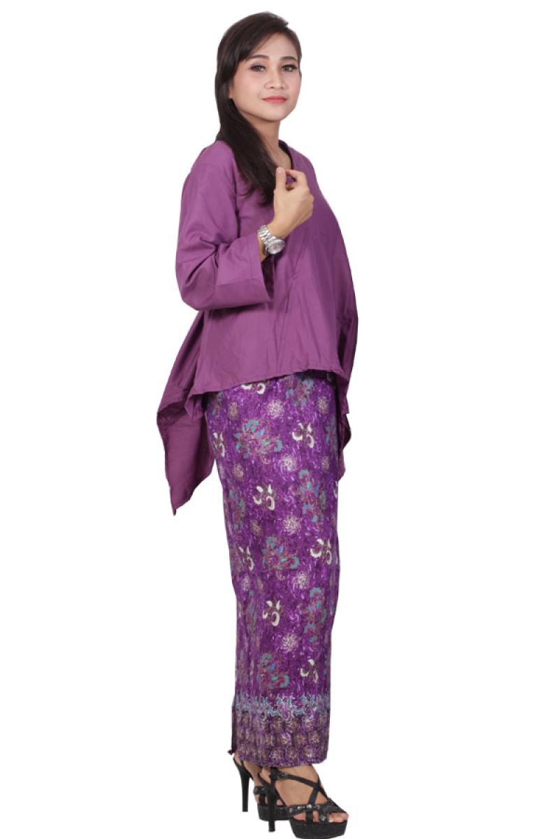 Batik Putri Ayu Solo D89 Dress Batik Katun - Ungu