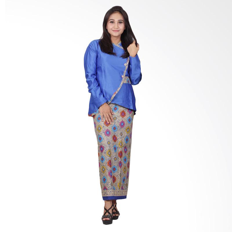 Batik Putri Ayu Solo D90 Semi Sutra Setelan Dress Batik - Biru