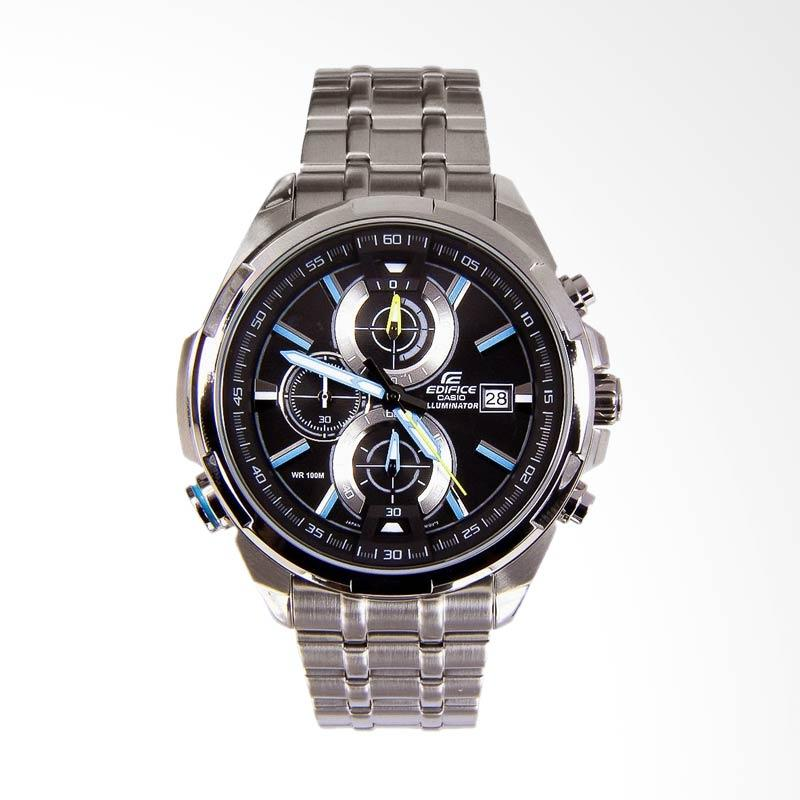 CASIO EDIFICE Chronograph Neon Illuminator Stainless Steel Jam Tangan Pria - Silver EFR-536D-1A2VDF
