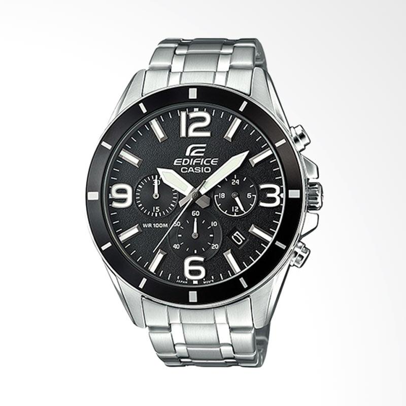 CASIO EDIFICE Chronograph Bahan Tali Stainless Steel Jam Tangan Pria - Silver EFR-553D-1BVUDF