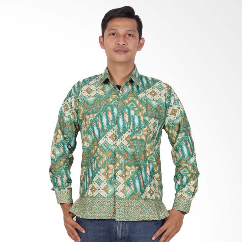 Batik Putri Ayu Solo Kemeja Batik Pria - Hijau KPJ202