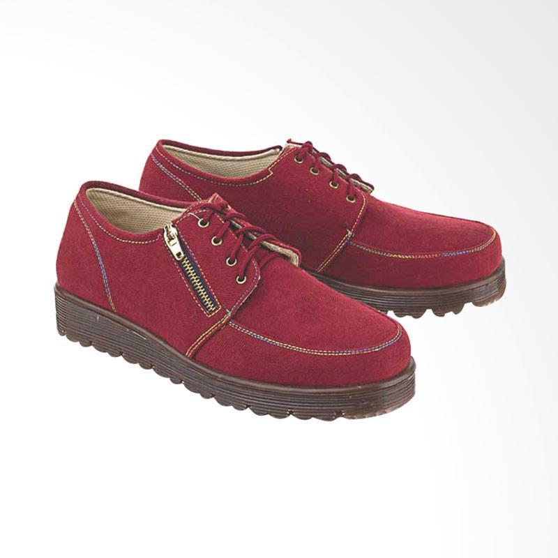 harga BlackKelly A178 Fashionable Women Docmart Boots Canvas - Maroon Blibli.com
