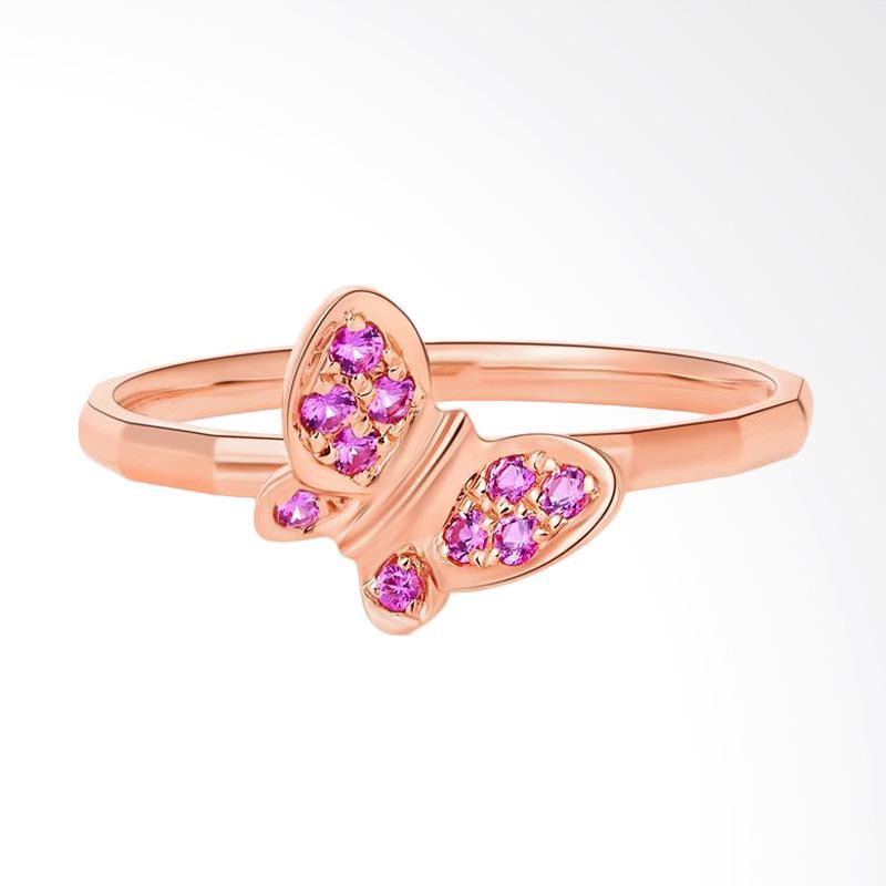 Tiaria 18K Rose Gold Ruby Butterly Ring Aksesoris Cincin Emas