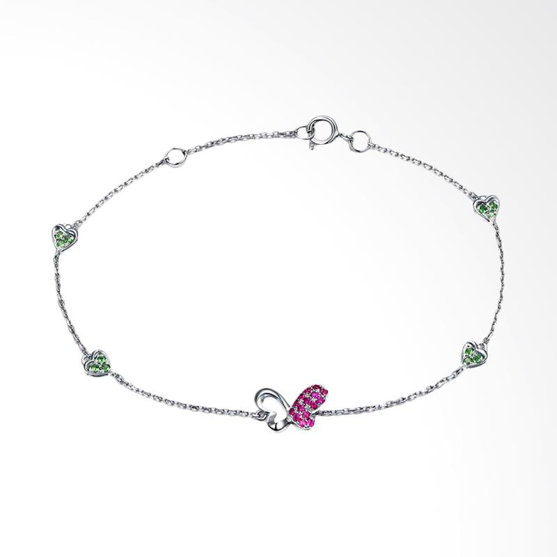 Tiaria 18K Ruby Butterfly Bracelet Aksesoris Emas Gelang - White Gold