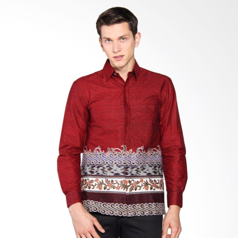 Batik Heritage Katun Motif Tenun Slim Fit Kemeja Pria - Merah