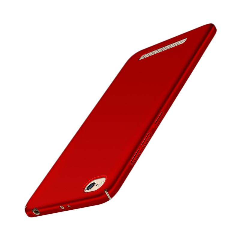 WEIKA Baby Skin Ultra Thin Full Cover Hardcase Casing for Xiaomi Redmi 4A - Red + free tempered glass 3power