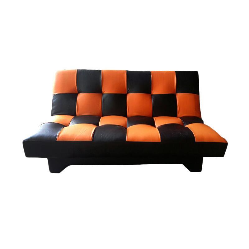 Sumber Rejeki Domino Tipe 040 Multifungsi Sofa Bed - Black Orange [Pre Order]