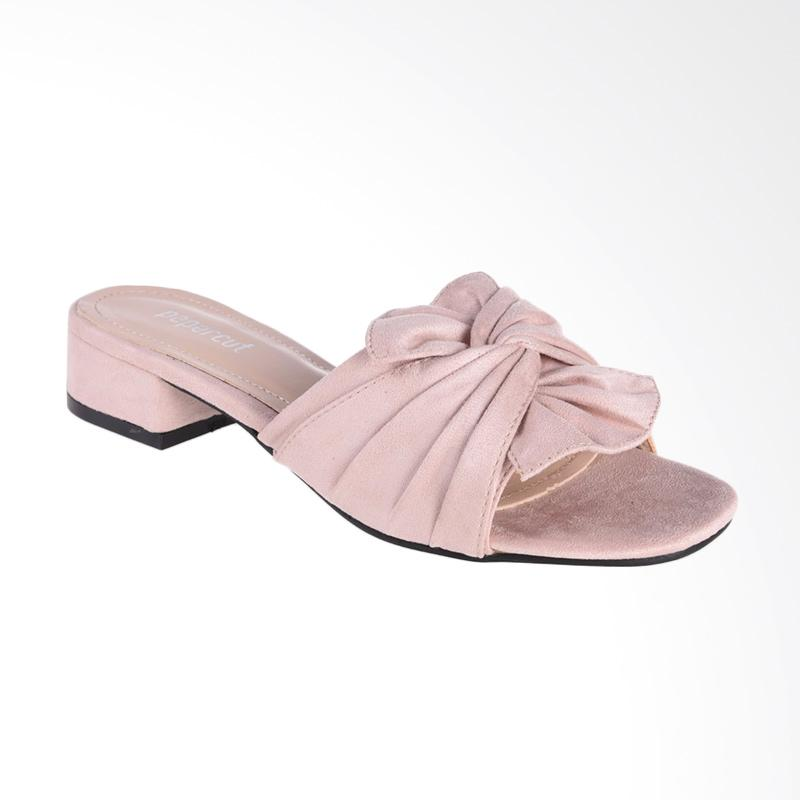 harga Papercut Shoes GZ 02 115-A7 Long Xin Bow Suede Slide Shoes Heels - Dusty Pink Blibli.com