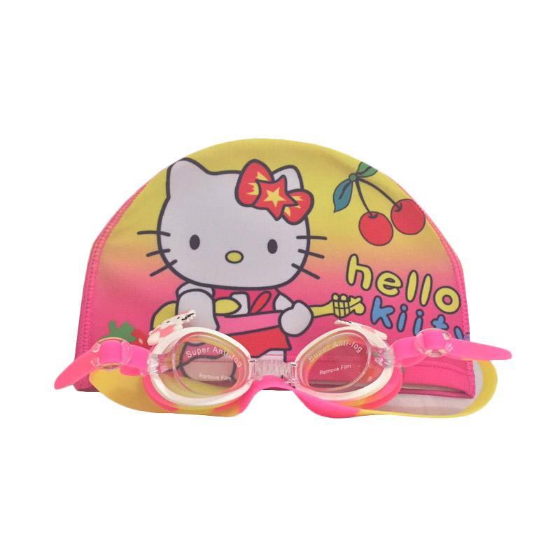 Hello Kitty Cute HK Topi Kaca Mata Renang Set - Pink Yellow Red