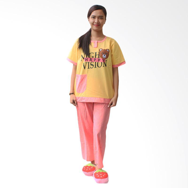 Aily 459 Bear Setelan Baju Tidur Wanita - Kuning
