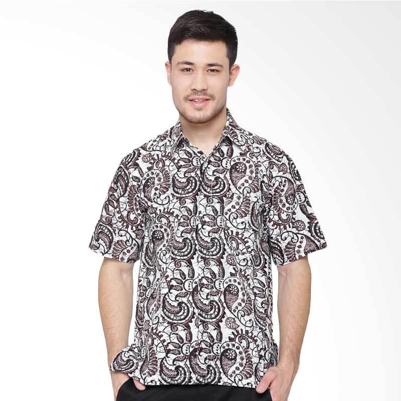Jening Batik Short Sleeve Kemeja Pria - White Brown RAFA-009