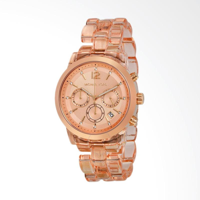 Michael Kors Women's MK6203 Chronograph Rose Dial Rose Acetate Ladies Watch