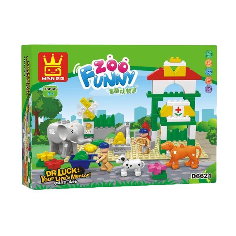 Wange D6621 Funny Zoo Duplo Mainan Blok dan Puzzle
