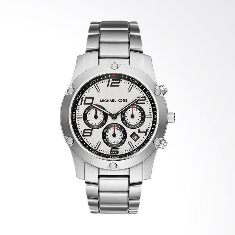 Michael Kors Caine Chronograph Pattern Stainless Steel Jam Tangan Pria - Silver White MK8472