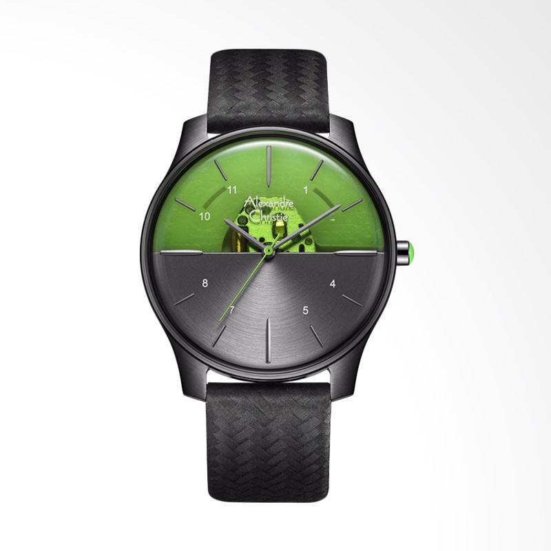 Alexandre Christie ACF-8532-MHLIPGRGN Signature Watch Skeleton Dial Black Leather Strap Jam Tangan Wanita - Black