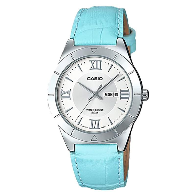 Casio LTP-1410L-7A2VDF Enticer Ladies Silver Dial Ion Plated Blue Leather Strap Jam Tangan Wanita