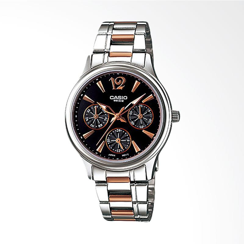 Casio LTP-2085RG-1AVDF - Enticer Ladies - Black Dial Ion Plated Dual-Tone Rose-gold