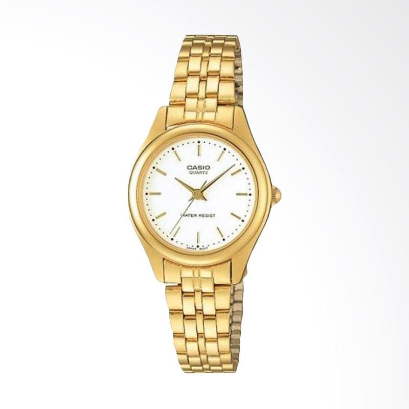 CASIO LTP-1129N-7ARDF Enticer Ladies White Dial Gold Stainless Steel Jam Tangan Wanita