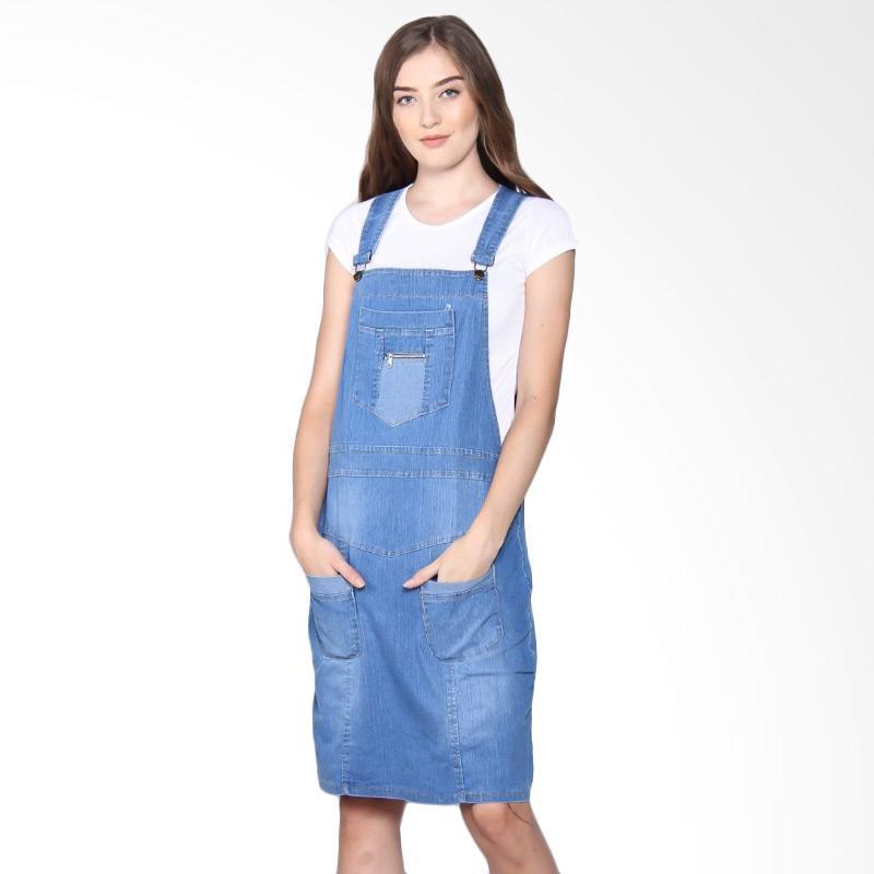 Overall Dress Pendek Jumpsuit Jeans Celine Biru Muda
