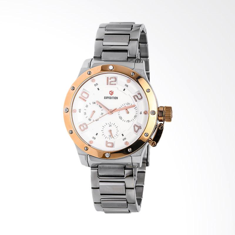 Expedition EXF-6381-BFBTRSL White Dial Silver Stainless Steel Jam Tangan Unisex - Silver