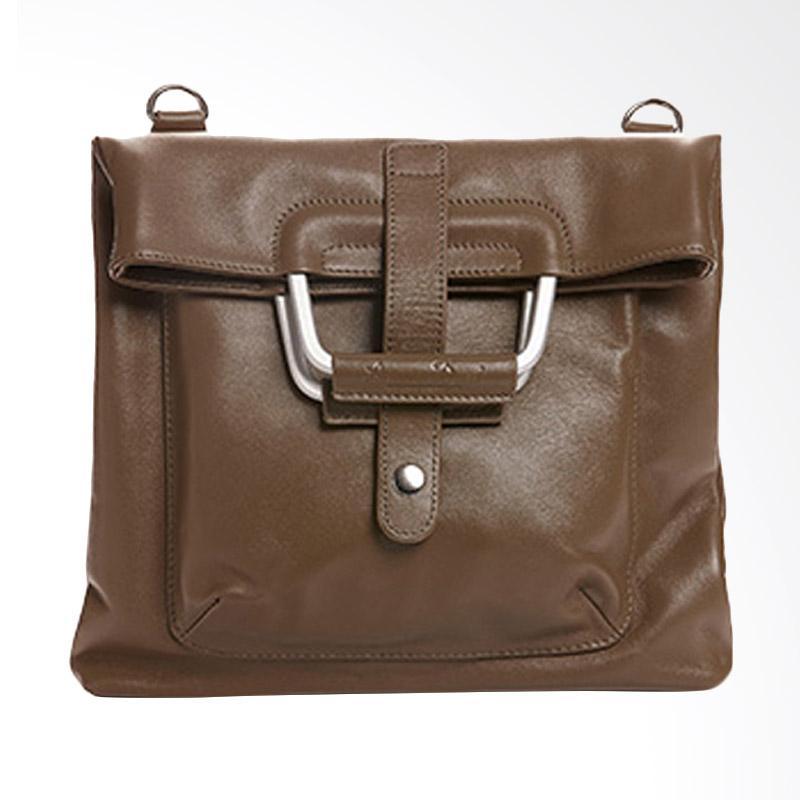 Amore Daniel Leather Patt - A4 Multifunction Bag - Brown Camel