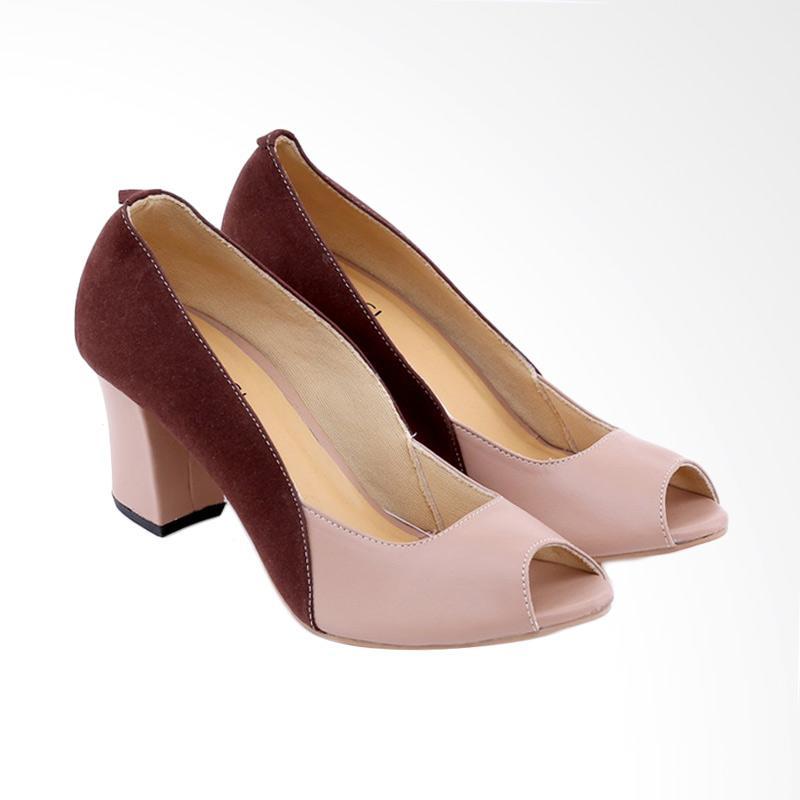 Garucci GYS 4243 Mid Low Heels Wanita - Brown