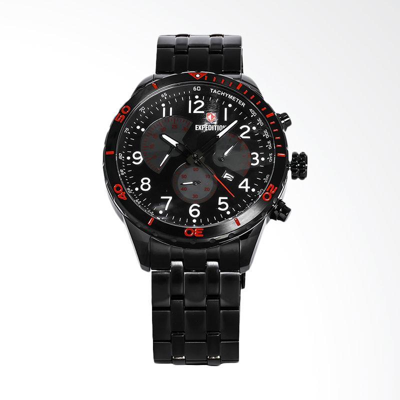 Expedition Man Chronograph Black Dial Black Stainless Steel Jam Tangan Pria - Black EXF-6720-MCBIPBARE
