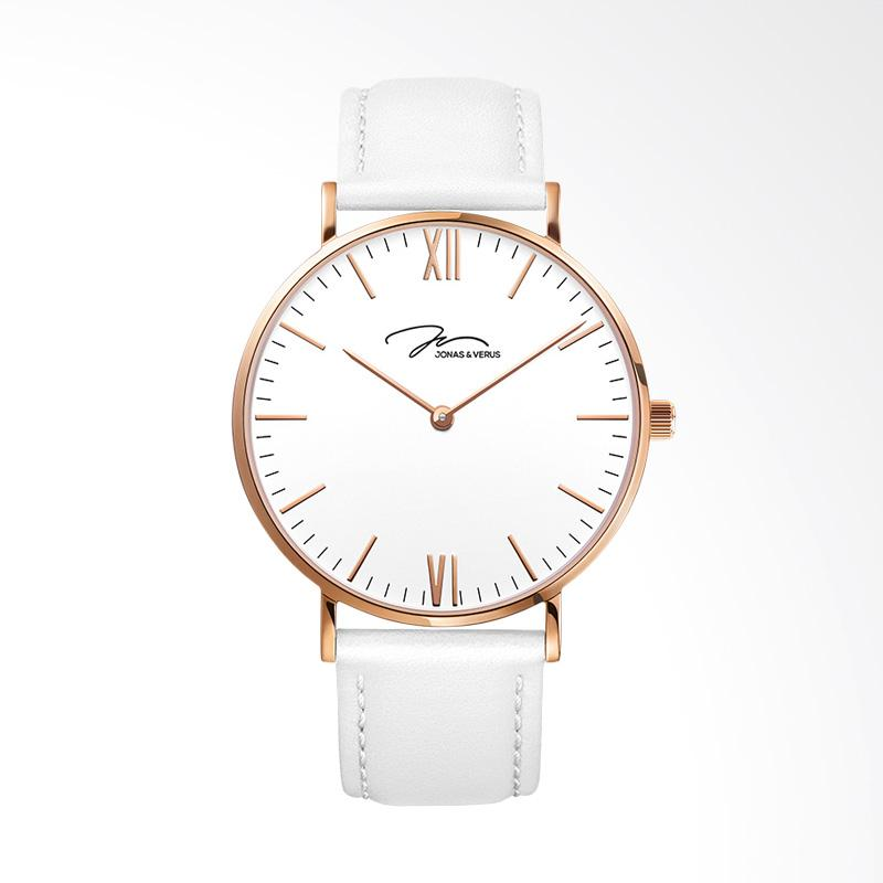 Jonas Verus X01646-Q3.PPWLW Ladies Quartz Watch White Dial White Leather Strap Jam Tangan Wanita - White
