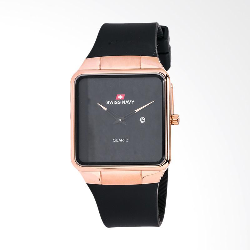 Swiss Navy Black Dial Rose Gold Case Black Jam Tangan Pria - Black 8312MRGBKBK