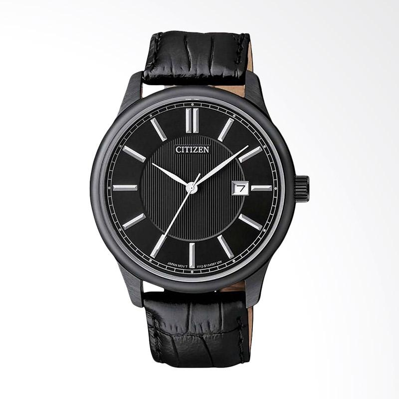 Citizen BI1055-01E Analog Black Dial Stainless Steel Case Leather Strap Jam Tangan Unisex - Black