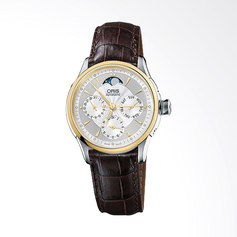 ORIS 581 7606 4351 LS 5 18 70FC Artelier Complication Leather Strap Jam Tangan Wanita - Brown Gold