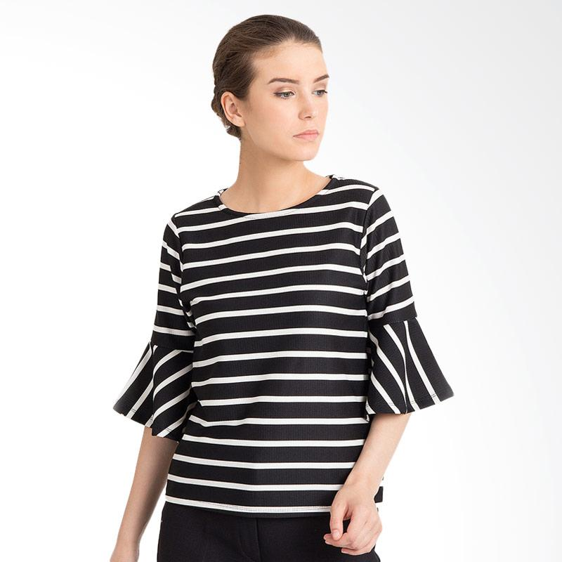 harga Duapola 5701 Stripped Wedges Bell Blouse - Black Blibli.com