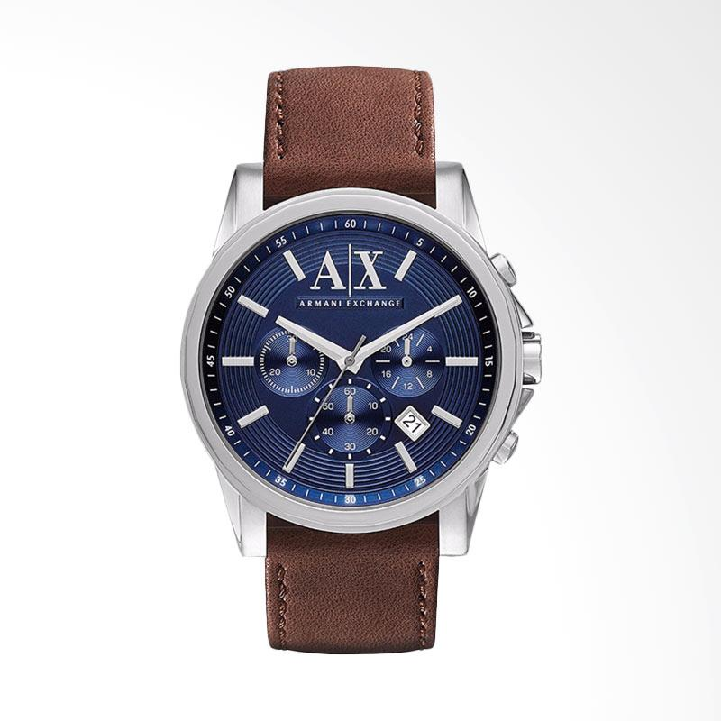 Armani Exchange AX2501 Chronograph Blue Dial Stainless Steel Case Brown Leather Strap Jam Tangan Pria - Brown