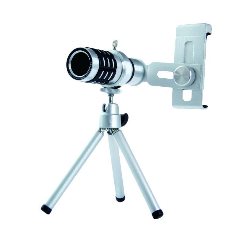 OEM 12x Zoom Optical Universal Telephoto Aluminium Fokus Lensa Camera Telescope for Smartphone - Silver