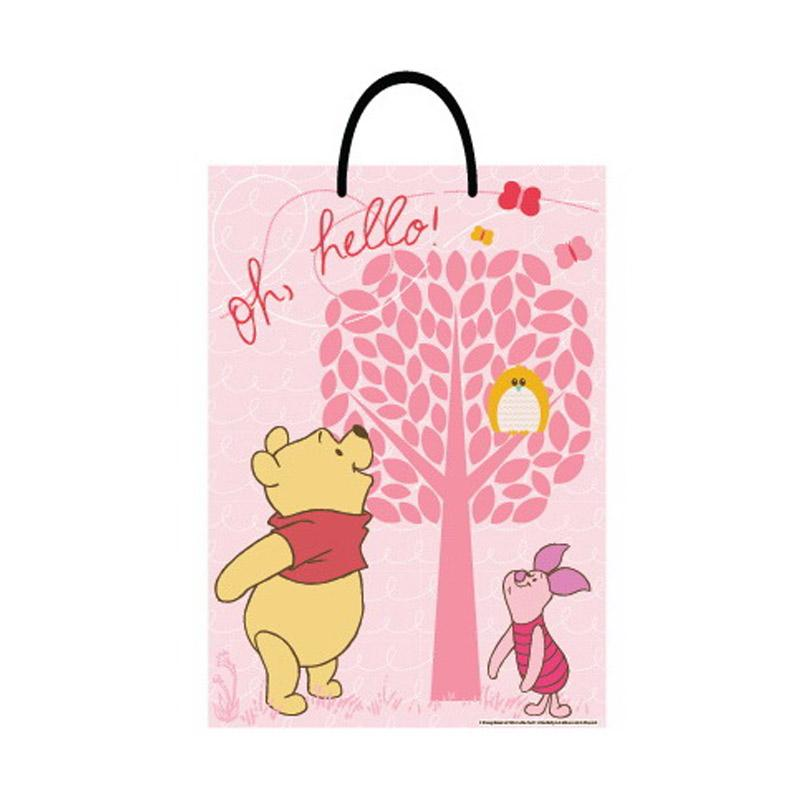 Something Sweet BA3346 PH001 Winnie the Pooh Oh Hello owls Paper Bag - Pink Glitter [Jumbo]