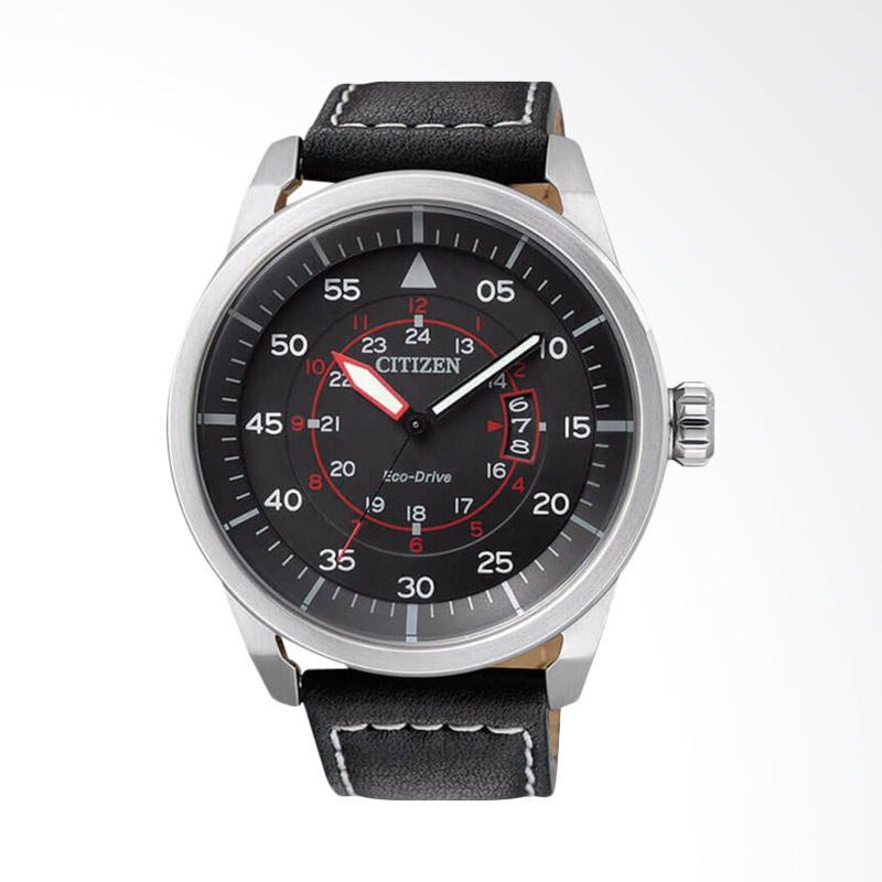 Citizen Eco Drive Black Dial Black Leather Strap Jam Tangan Pria AW1360-04E