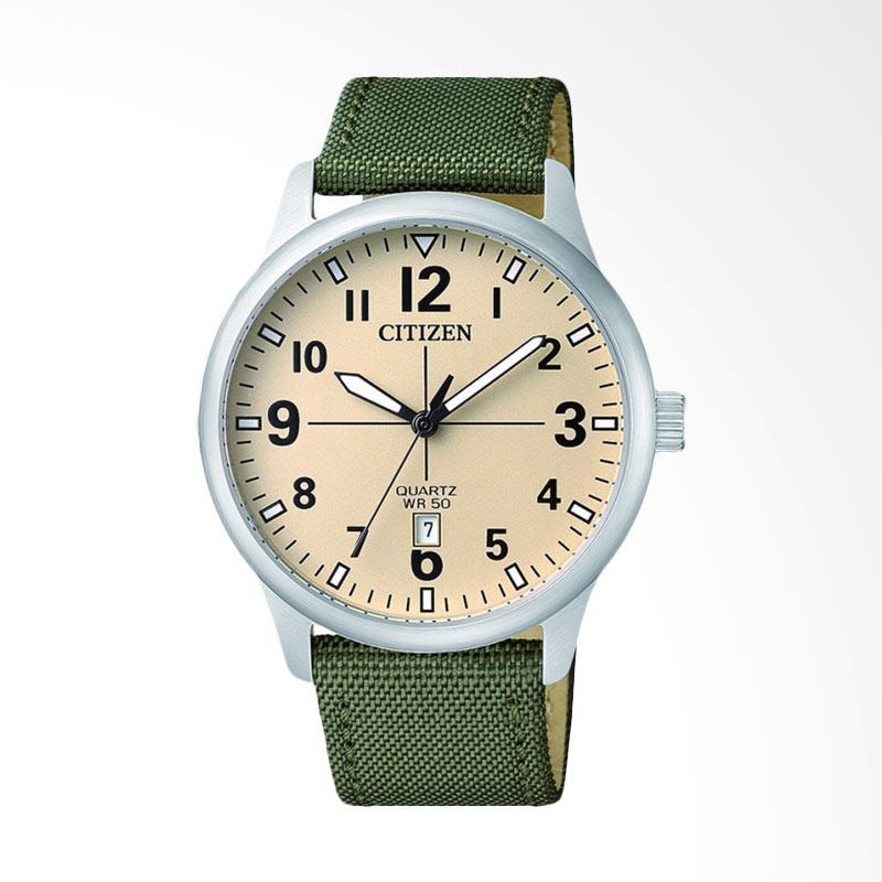 Citizen Vintage Quartz Watch Beige Dial Stainless Steel Case Green Nylon Strap Jam Tangan Pria BI1050-05X